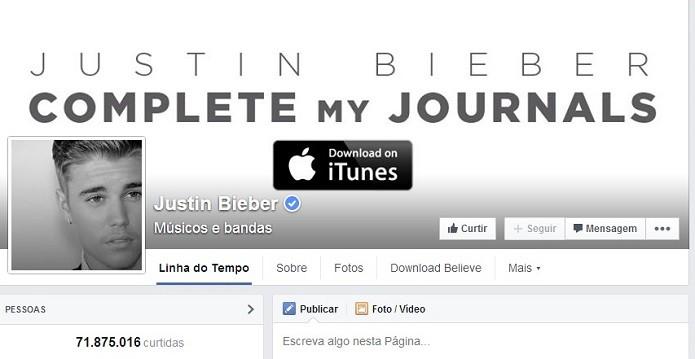JB é extremamente popular em todas as redes sociais (Foto: Reprodução/Facebook)