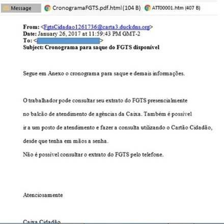 E-mail com falso cronograma do FGTS (Foto: Reprodução)