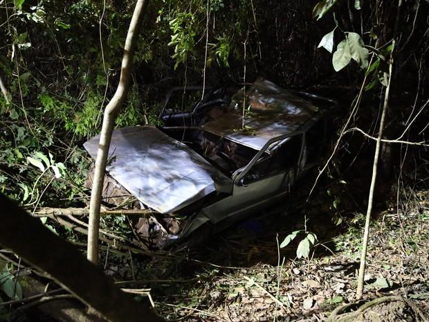 Carro que capotou e caiu de ribanceira de cerca de 15 metros de altura (Foto: Corpo de Bombeiros/Divulgação)
