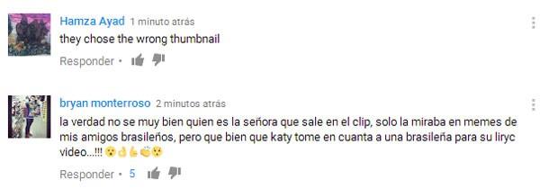 """""""Não sei muito bem quem é essa senhora que está no clipe, só a via antes nos memes dos meus amigos brasileiros, mas que bom que a Katy levou em consideração uma brasileira."""" (Foto: Reprodução)"""