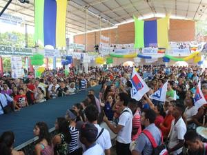 Outros dois partidos também fizeram suas convenções no mesmo local (Foto: Patrícia Andrade/G1)