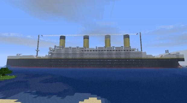 Titanic em sua versão no 'Minecraft' (Foto: Reprodução)