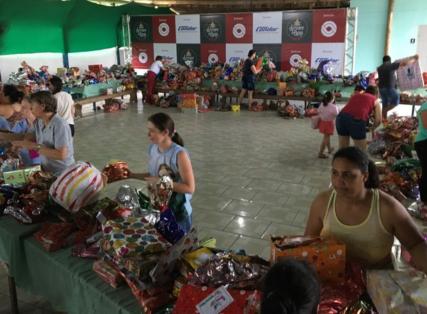 Mais de 2,3 mil binquedos foram arrecadados em Joinville (Foto: RBS TV/Divulgação)