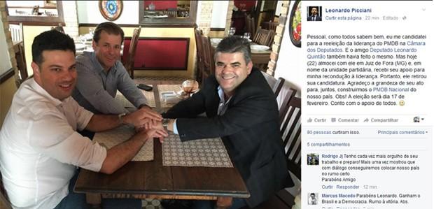 O líder do PMDB, Leonardo Picciani, publicou em sua página no Facebook fotografia ao lado do deputado Leonardo Quintão (ao fundo) (Foto: Reprodução / Facebook)