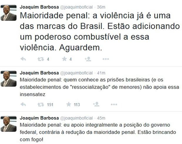 Joaquim Barbosa posta nmo Twitter mensagem contra a redução da maioridade penal (Foto: Reprodução / Twitter)