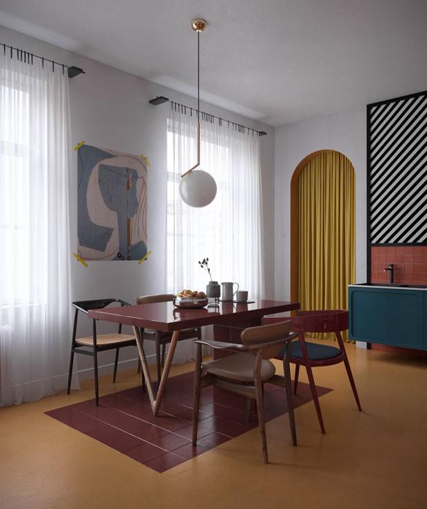 Décor do dia: sala de jantar colorida lúdica (Foto: Daria Zinovatnaya)