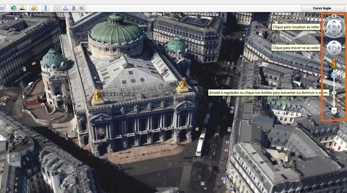 Se movimente pela cidade em 3D usando os controles do Google Earth (Foto: Reprodução/Barbara Mannara)