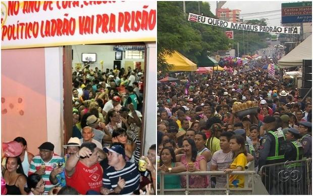 Banda da Bica e do Boulevard agitaram fim de semana em Manaus (Foto: Diego Toledano/G1 AM; Girlene Medeiros/ G1 AM)