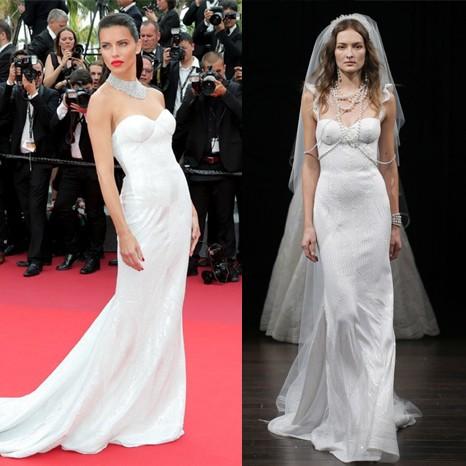 Adriana Lima usa vestido de noiva em Cannes (Foto: Getty Images)