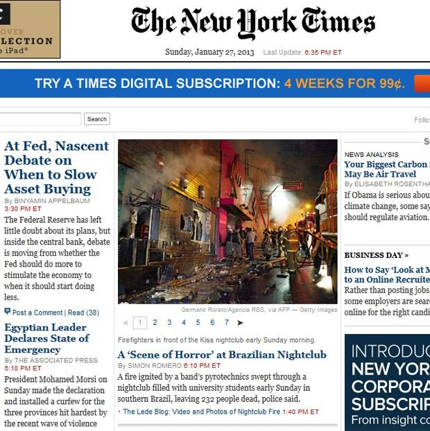 Jornal destacou acidente em sua página principal (Foto: Reprodução)