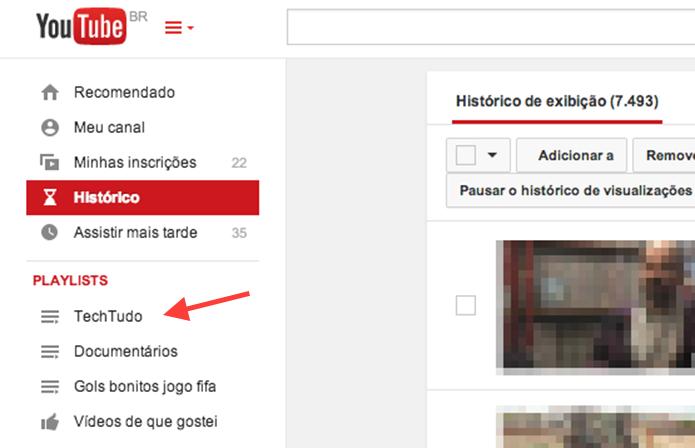 Acessando a nova playlist no painel de usuário do YouTube (Foto: Reprodução/Marvin Costa)