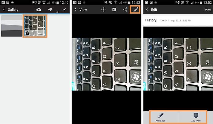 Editando as tags das imagens e vídeo para organizar no app (Foto: Reprodução/Barbara Mannara)