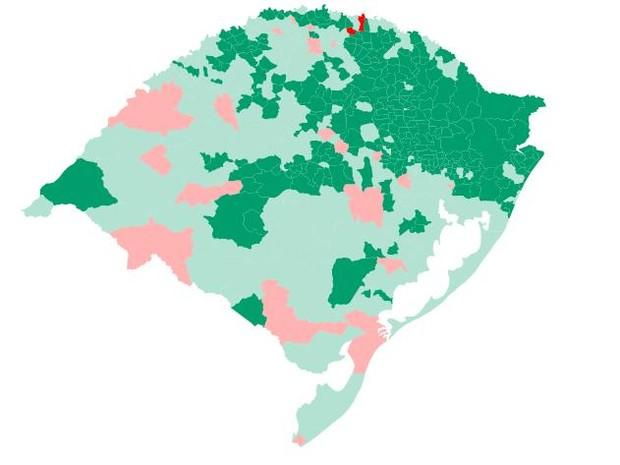 Mapa do Rio Grande do Sul após a eleição mostra ampla vantagem de Sartori (Foto: Reprodução)