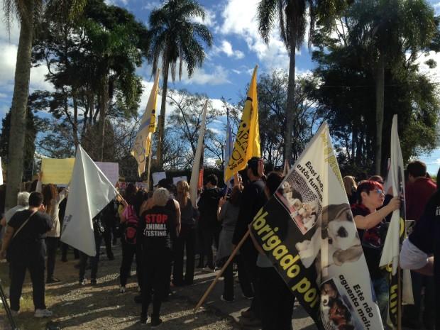 Grupo protestou por aproximadamente quatro horas em frente ao Tecam (Foto: Jéssica Pimentel / G1)