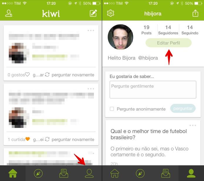 Editando o perfil do Kiwi (Foto: Reprodução/Helito Bijora)