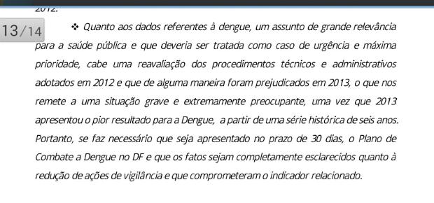 Relatório pede reavaliação de procedimentos adotados no combate à dengue no DF (Foto: Conselho de Saúde do Distrito Federal/Reprodução)