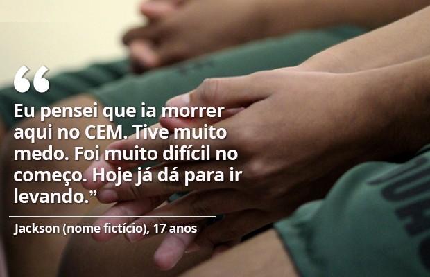 Jackson, nome fictício, 17 anos, condenado pelo crime de estupro coletivo em Castelo do Piauí (Foto: Fernando Brito/G1)