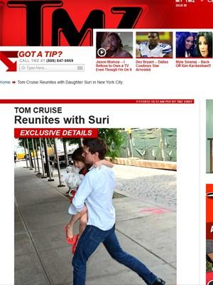 Cruise aparece com a filha Suri pela primeira vez após divórcio em imagem do TMZ (Foto: Reprodução)