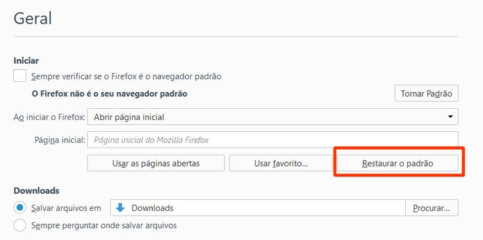 No Firefox, o procedimento é semelhante ao feito no Chrome. (Foto: Reprodução / Gabriel Galli)