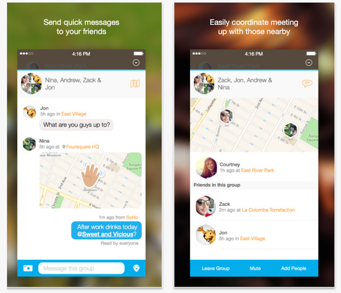 O chat do Swarm pode ser privado ou em grupo (Foto: Reprodução/iTunes App Store) (Foto: O chat do Swarm pode ser privado ou em grupo (Foto: Reprodução/iTunes App Store))