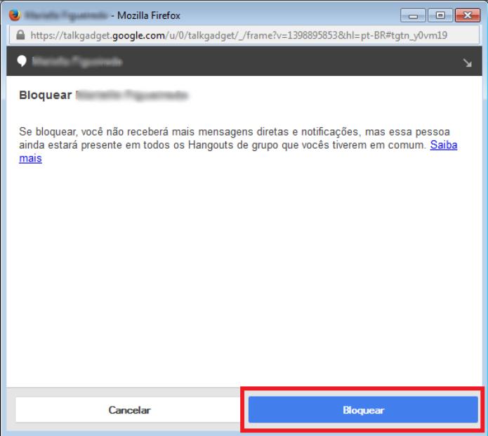 Confirme a ação clicando em bloquear (Foto: Reprodução/Lívia Dâmaso)