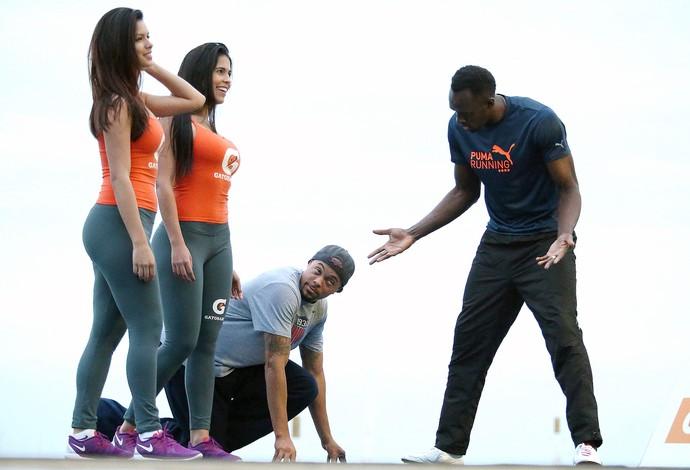 Usain Bolt treino evento Mano a Mano Rio de Janeiro (Foto: Marcelo Theobald / Agência O Globo)