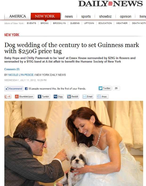 """Reportagem do """"NY Daily News"""" trata do casamento com preço recorde organizado para o cãozinho (Foto: Reprodução)"""
