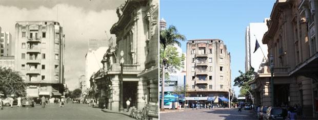 Quarteirão Paulista com edifício Diederichsen ao fundo na década de 1950 e nos dias atuais (Foto: Clayton Castelani/G1)