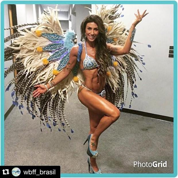 Jaque Khury nos bastidores de concurso fitness nos Estanos Unidos (Foto: reprodução/instagram)