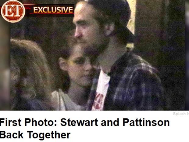 Foto divulgada em site mostra os atores Robert Pattinson e Kristen Stewart juntos em um bar em Los Angeles (Foto: Reprodução)