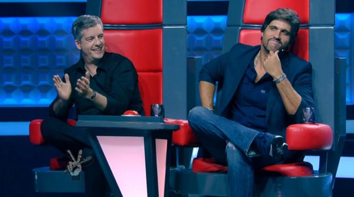Victor & Leo se empolgam durante audições do The Voice Kids (Foto: Tv Globo)