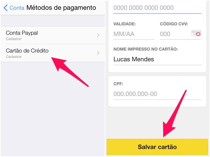 Clique na opção de cartão de crédito e preencha com os seus dados (Foto: Reprodução/Lucas Mendes)