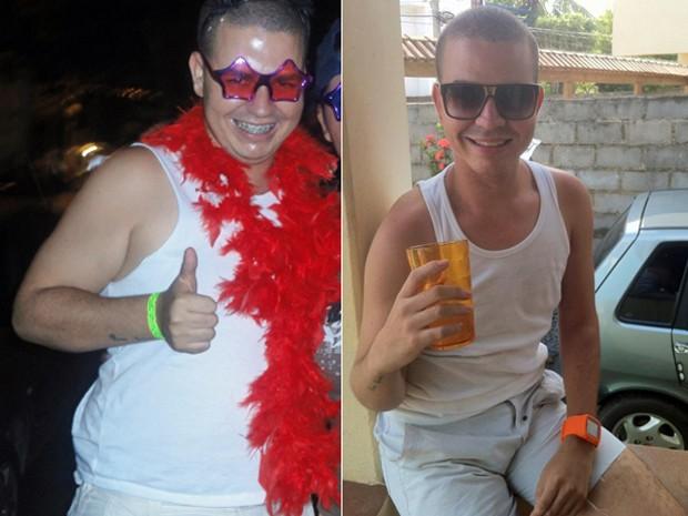 Aos 23 anos, com 95 kg, ele decidiu começar a mudar os hábitos para perder peso do jeito saudável; fotos mostram antes e depois (Foto: Arquivo pessoal)