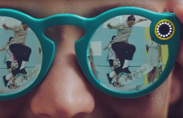 Spectacles, óculos que gravam vídeos e tiram fotos, criados pelo Snapchat, que mudou de nome para Snap. (Foto: Divulgação/Snapchat)