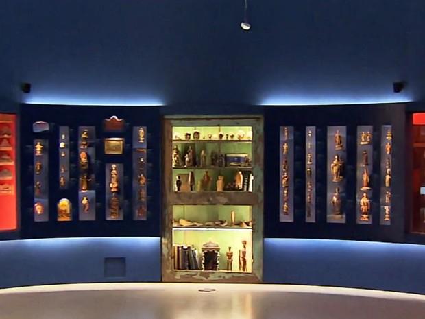 Sala dos Milagres, no Museu de Congonhas (Foto: Reprodução/TV Globo)