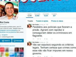 Rui Costa postou mensagem de desagravo no Twitter (Foto: Reprodução / Twitter)