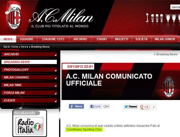 Nota no site do Milan Pato (Foto: Reprodução)