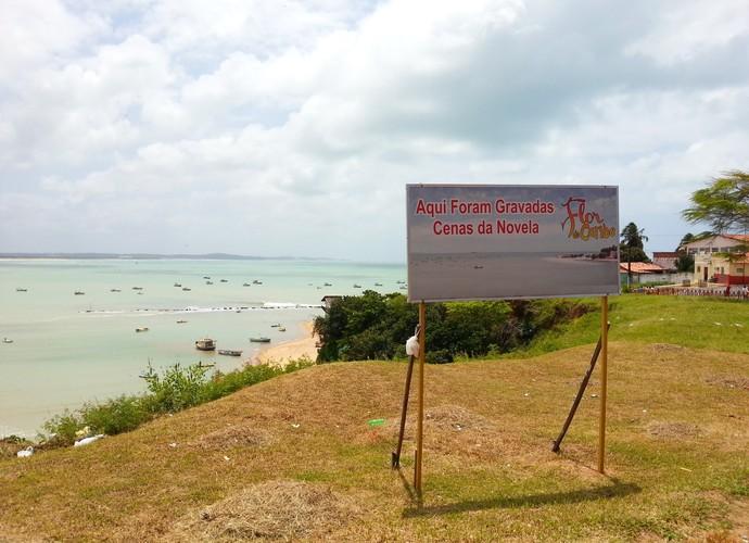 Placa informando sobre a 'Flôr do Caribe' em Baía Formosa (Foto: Lidiane Medeiros)