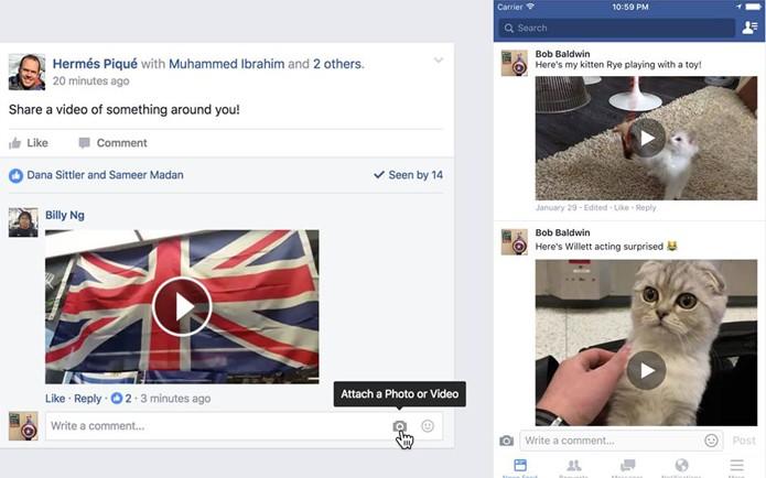 Versões desktop e móvel do Facebook vão permitir que usuários comentem posts com vídeos (Foto: Reprodução/Facebook)