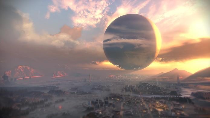 Em Destiny, a última cidade da Terra foi construída sob o Viajante. (Foto: Divulgação)