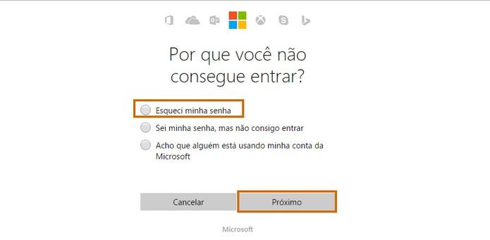 Selecione a opção para recuperar a senha do Outlook.com (Foto: Reprodução/Barbara Mannara)