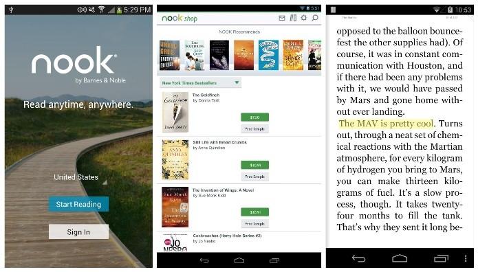Ao baixar o Nook, o usuário ganha cinco livros  instantaneamente (Foto: Divulgação)