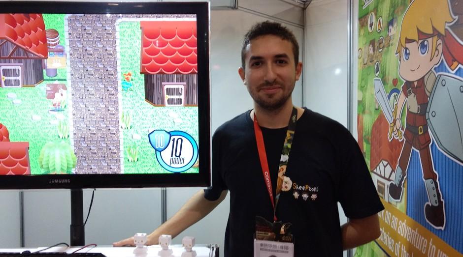 Andrei Dilhe, desenvolvedor do jogo Wind Traveler (Foto: Vitória Batistoti)