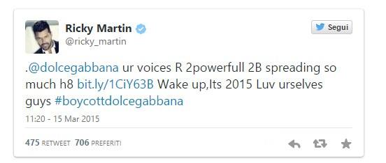 O post de Ricky Martin  (Foto: Reprodução Twitter)