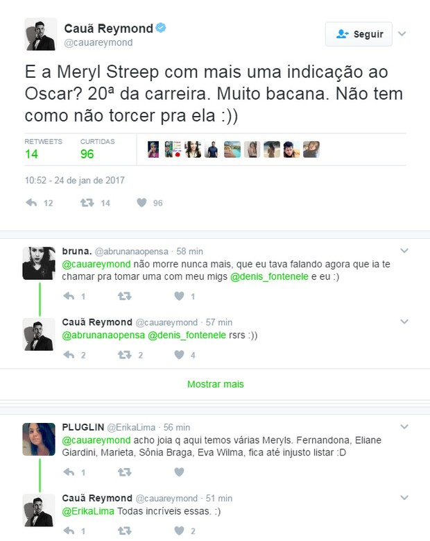 Cauã Reymond faz comentário no Twitter sobre o Oscar (Foto: Reprodução / Twitter)