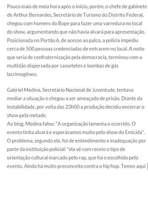 Trecho da publicação no blog do rapper Emicida (Foto: Emicida/Divulgação)