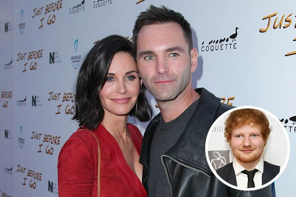 Courteney Cox, Johnny McDaid e Ed Sheeran (Foto: Getty Images)