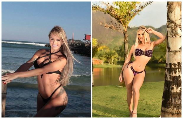 Thalita Zampirolli no antes e depois da cintura  (Foto: Reprodução/Instagram)