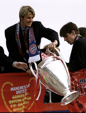 David Beckham manchester united taça campeão liga dos campeões (Foto: Agência Getty Images)