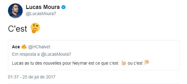 BLOG: Perguntado por notícias de Neymar, Lucas dá a entender que amigo segue pensando